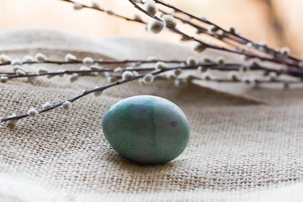 Weide verzweigt sich selektive weichzeichnung der retro- weinlese des osterei-frühlinges auf einer knospe