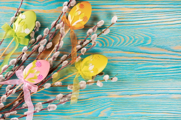 Weidenbaumzweig mit weichem, flauschigem silber