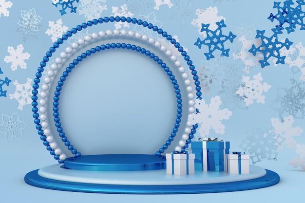 Weihnachten blau 3d fliegende schneeflocken winterpodium mit perlenbogen urlaub neujahr vorlage