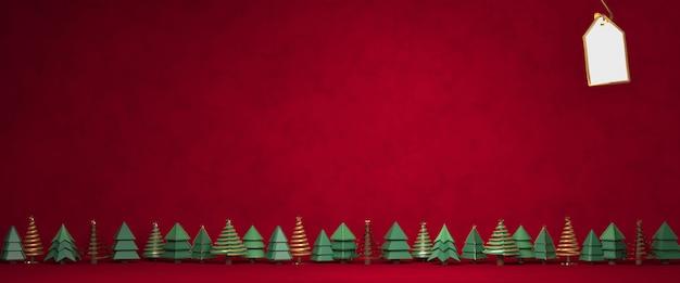 Weihnachten der wiedergabe 3d, geschenkbox, weihnachtsbäume auf dunkelrotem hintergrund