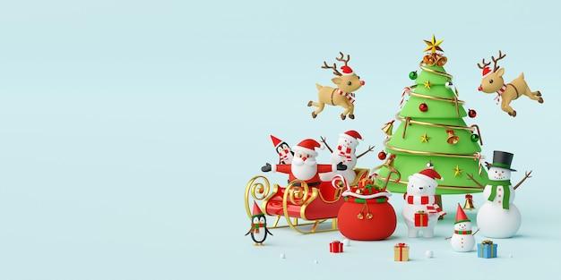 Weihnachten feiern mit weihnachtsmann und freunden 3d-rendering