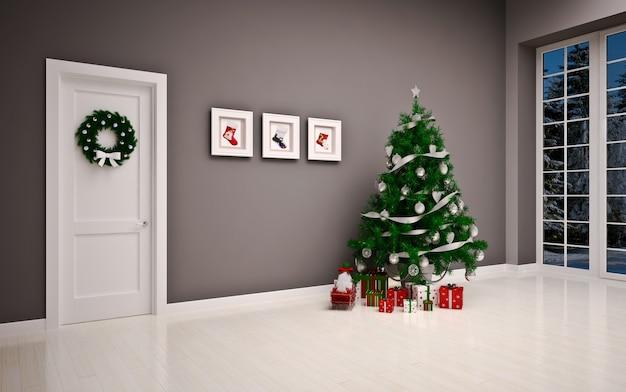 Weihnachten leerer innenraum mit tür & baum