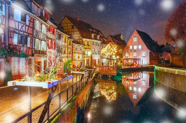 Weihnachten little venice in colmar, elsass, frankreich