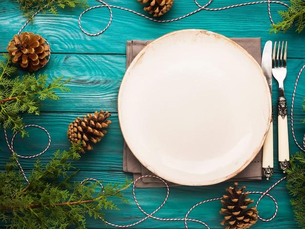 Weihnachten mit geschirr und besteck