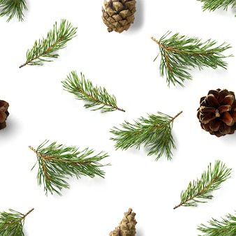 Weihnachten nahtloses muster von tannenzapfen tannenzweignadeln isoliert