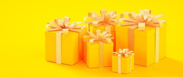 Weihnachten, neues jahr, gelbe goldene präsentkartons 3d des geburtstages, die illustration übertragen