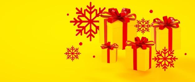 Weihnachten, neues jahr, gelbe rote präsentkartons des geburtstages und wiedergabeillustration der schneeflocken 3d