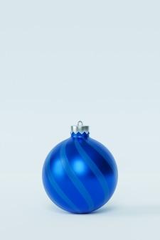 Weihnachten oder neujahr urlaub hintergrund, einzelne blaue kugel, 3d-rendering