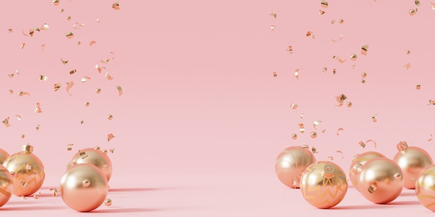 Weihnachten oder neujahr urlaub hintergrund, goldene kugeln mit konfetti, 3d-rendering