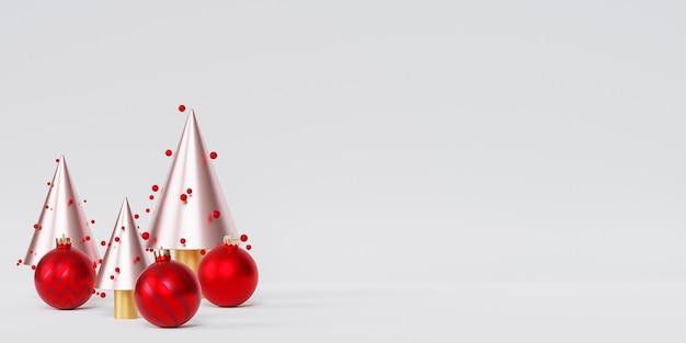 Weihnachten oder neujahr urlaub hintergrund, goldene tannen mit roten kugeln, 3d-rendering