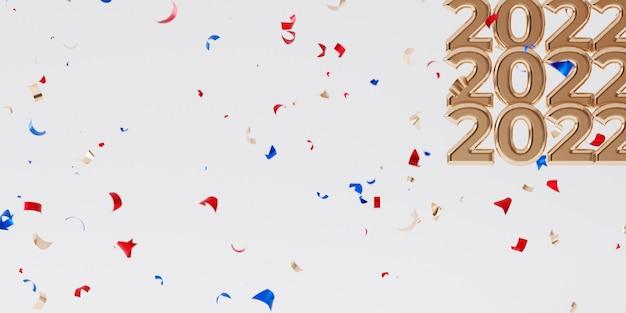 Weihnachten oder neujahr urlaub hintergrund, goldener brief 2022 mit konfetti, 3d-rendering