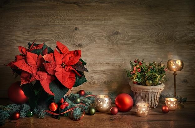 Weihnachten stillleben mit weihnachtsstern, gaultheria und dekorationen auf holz, raum