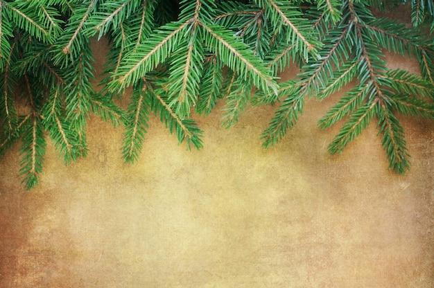Weihnachten tannenbaum grenze über vintage hintergrund
