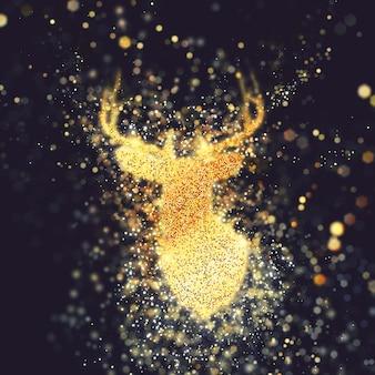 Weihnachten übertragen mit rotwildkopf und scheineffekt