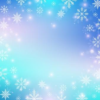 Weihnachten und guten rutsch ins neue jahr-hintergrund mit schneeflocken, illustration.