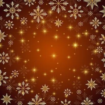 Weihnachten und guten rutsch ins neue jahr-illustrationshintergrund mit goldenen schneeflocken.