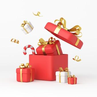 Weihnachten und neujahr-design. realistische weiße und rote geschenkboxen. 3d-rendering