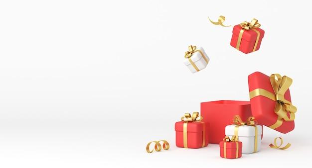 Weihnachten und neujahr-design. realistische weiße und rote geschenkboxen mit bändern. 3d-rendering