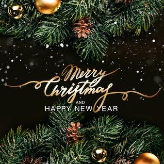 Weihnachten und neujahr urlaub hintergrund. weihnachtsgrußkarte. goldene weihnachtsdekoration. noel. ansicht von oben. flacher schriftzug