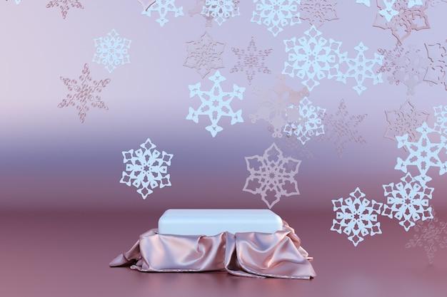 Weihnachten und neujahr vorlage 3d roségold hintergrund mit leerem podium und schneeflocken