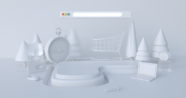 Weihnachts-3d-rendering-szenenpodestanzeige mit abstraktem hintergrund der weihnachtsobjekte.
