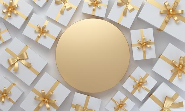 Weihnachts- oder geburtstagsgeschenke auf draufsicht auf goldenem hintergrund mit platz für grafik. 3d-rendering.