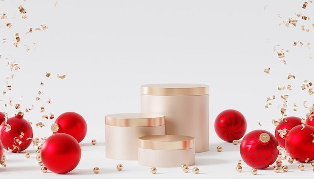 Weihnachts- oder neujahrsfeiertagshintergrund, goldene podien oder podeste für produkte oder werbung mit roten kugeln, 3d-rendering