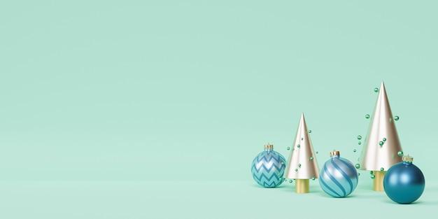 Weihnachts- oder neujahrsfeiertagshintergrund, goldene tannen mit blauen kugeln, 3d-rendering