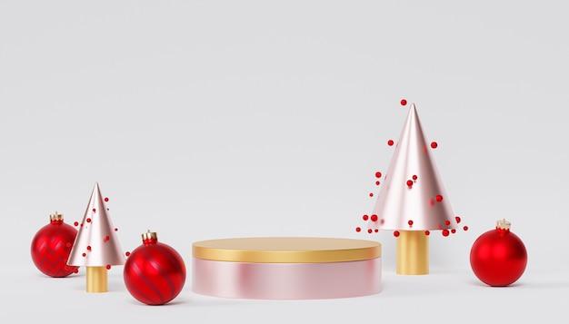 Weihnachts- oder neujahrsfeiertagshintergrund, goldenes podium oder sockel für produkte oder werbung mit roten kugeln, 3d-rendering