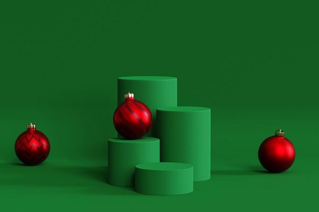 Weihnachts- oder neujahrsfeiertagshintergrund, grüne podien oder podeste für produkte oder werbung mit kugeln, 3d-rendering