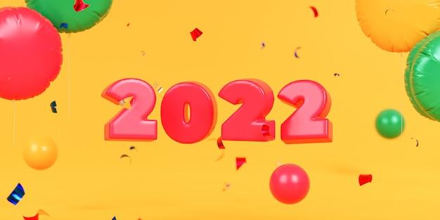 Weihnachts- oder neujahrsfeiertagshintergrund, rote 2022-zahlen mit konfetti und luftballons, 3d-rendering