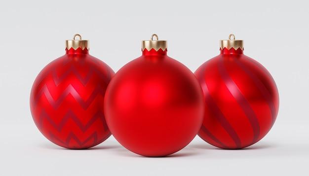 Weihnachts- oder neujahrsfeiertagshintergrund, rote kugeln, 3d-rendering