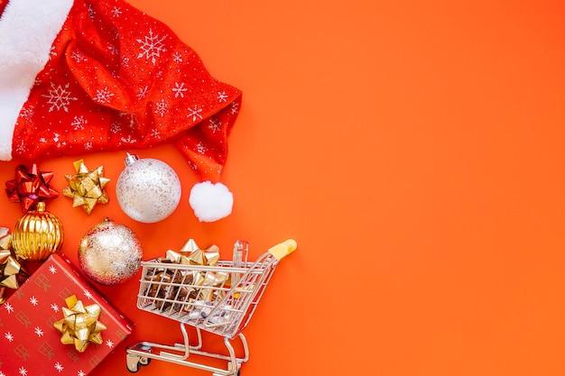 Weihnachts-shopping-konzept mit platz auf der rechten seite