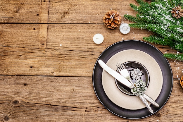 Weihnachts- und abendessengedeck des neuen jahres