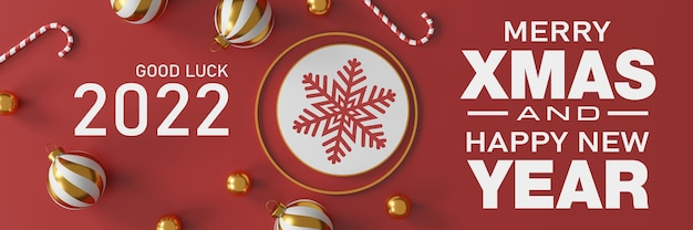 Weihnachts- und guten rutsch ins neue jahr dekorationen mit einer goldenen silbernen kugel und einem goldenen stern auf rotem hintergrund. 3d-darstellung