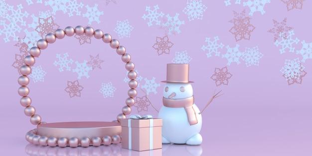 Weihnachts- und neujahrs-mockup-banner schneemann mit podium auf weihnachtlichem pastellrosa hintergrund