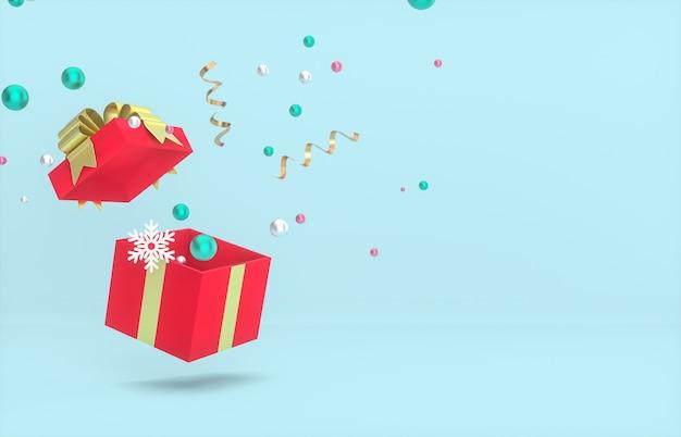 Weihnachts- und neujahrshintergrund mit leerer geschenkbox und konfetti.