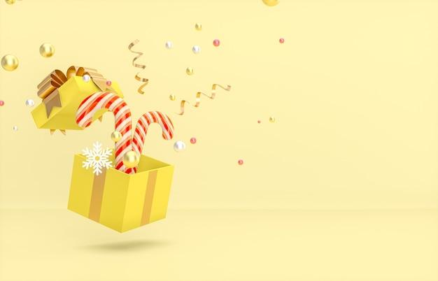 Weihnachts- und neujahrshintergrund mit zuckerstange, geschenkbox und konfetti.