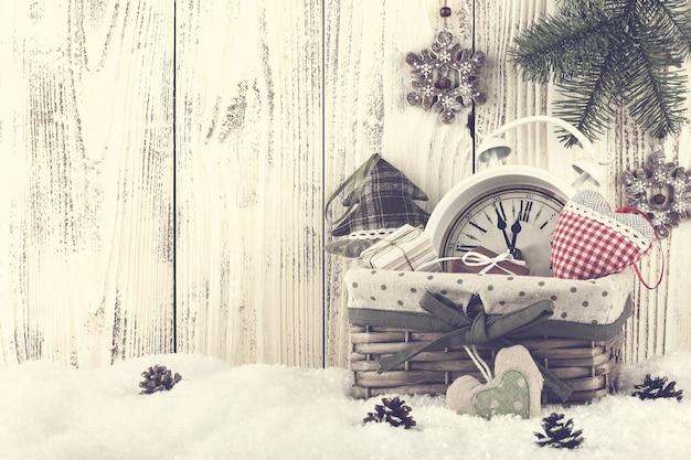 Weihnachts- und silvester-stillleben, getöntes foto
