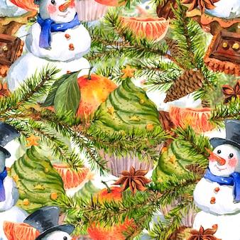 Weihnachtsaquarell-nahtloser hintergrund