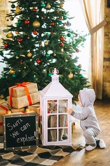 Weihnachtsbaby und katze