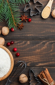 Weihnachtsbacken-inhaltsstoff-draufsicht-ebenen-kopien-raum