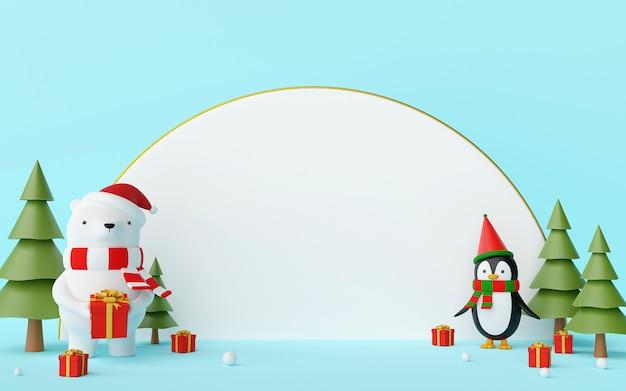 Weihnachtsbär und pinguin mit weißer leerstelle auf einem 3d-rendering des blauen hintergrunds