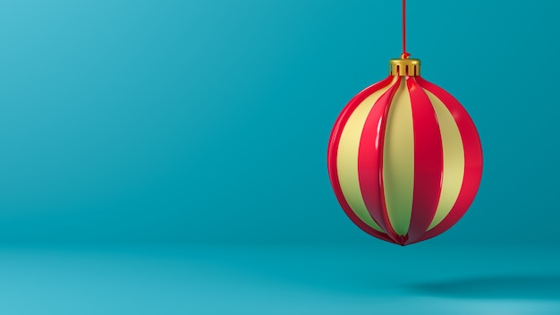Weihnachtsball lokalisiert auf blauem hintergrund. 3d-rendering. vorlage für eine grußkarte, banner, für das neue jahr und weihnachten
