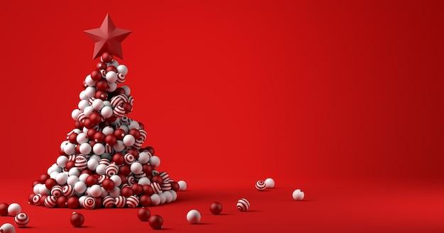 Weihnachtsbanner. weihnachtshintergrund mit weihnachtsbaum mit roten kugeln. 3d-darstellung.