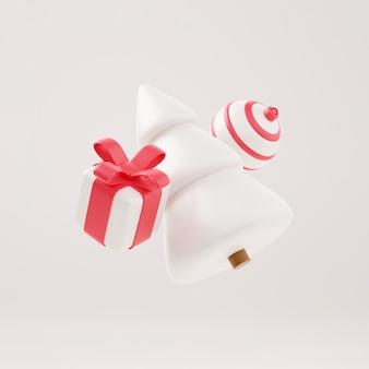 Weihnachtsbaum 3d mit geschenkbox und weißem hintergrund der kugel, weihnachtsplakat, netzfahne. 3d-illustration minimalistisches weihnachts- und neujahrskonzept