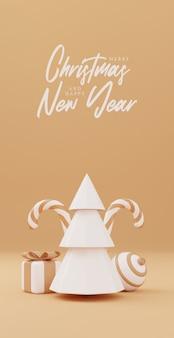 Weihnachtsbaum 3d mit roter geschenkbox und ballgoldhintergrund, weihnachtsplakat, netzfahne. 3d-render-illustration minimalistisches weihnachts- und neujahrskonzept