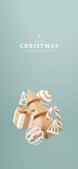 Weihnachtsbaum 3d mit roter geschenkbox und grünem hintergrund des balls, weihnachtsplakat, netzfahne. 3d-render-illustration minimalistisches weihnachts- und neujahrskonzept