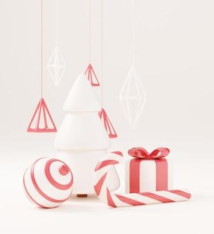 Weihnachtsbaum 3d mit roter geschenkbox und weißem hintergrund der kugel, weihnachtsplakat, netzfahne. 3d-render-illustration minimalistisches weihnachts- und neujahrskonzept