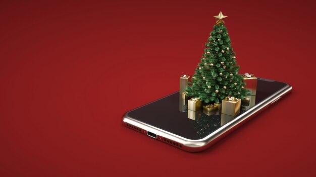 Weihnachtsbaum auf dem smartphone